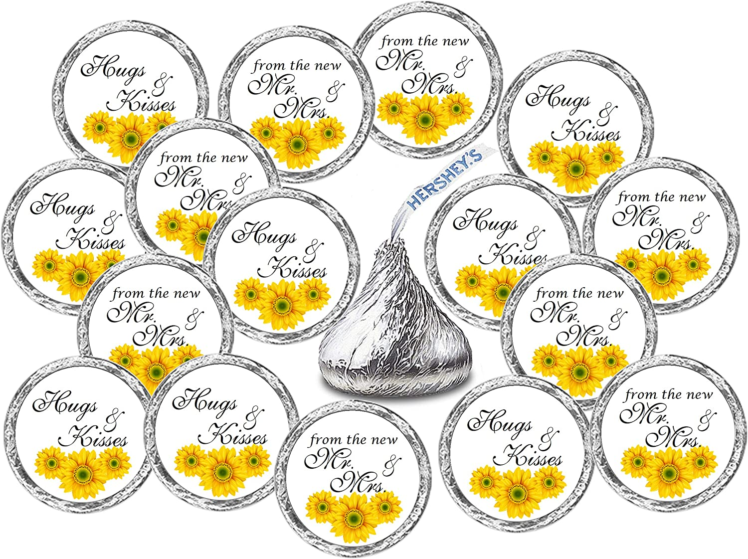 324 Hugs and Kisses from the new Mr /& Mrs Interlocking Orange Hearts Wedding Favors Stickers Labels For Bridal Shower CANDY NOT INCLUDED
