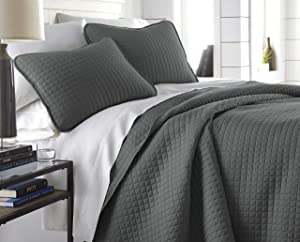 Southshore Fine Linens - Vilano Springs Oversized 3 Piece Quilt Set, King/California King, Slate