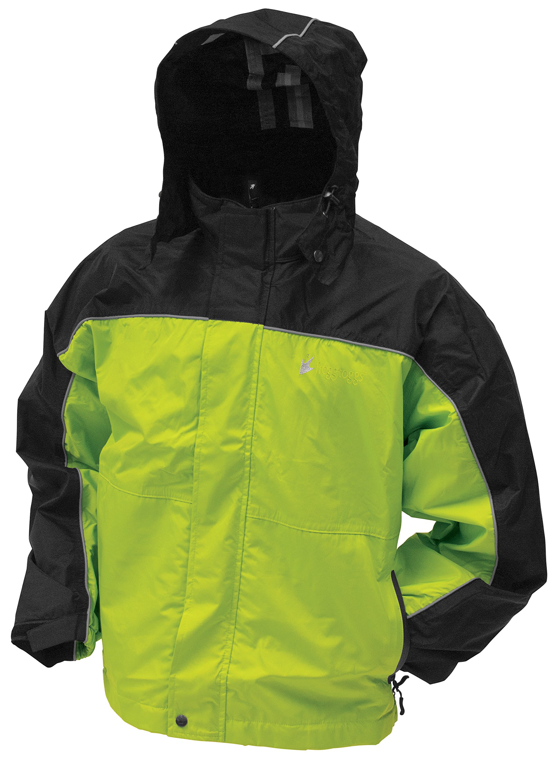 Frogg Toggs Toadz Highway Reflective Jacket, Black/Hivis Reflective, Size Small