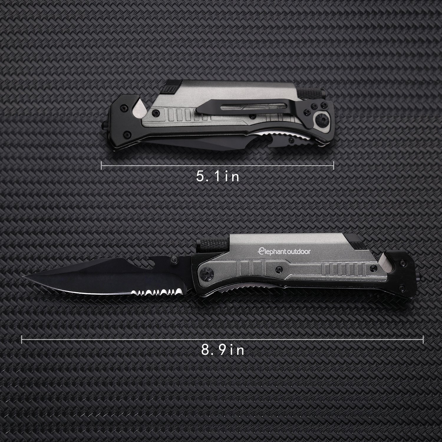 Survival Knife - Updated 7-in-1 Tactical Pocket Folding Knife with LED Flashlight, Glass Breaker, Seatbelt Cutter, Magnesium Fire Starter, Whistle and Bottle Opener, Best Stainless Steel Camping Gear by Elephant outdoor (Image #4)