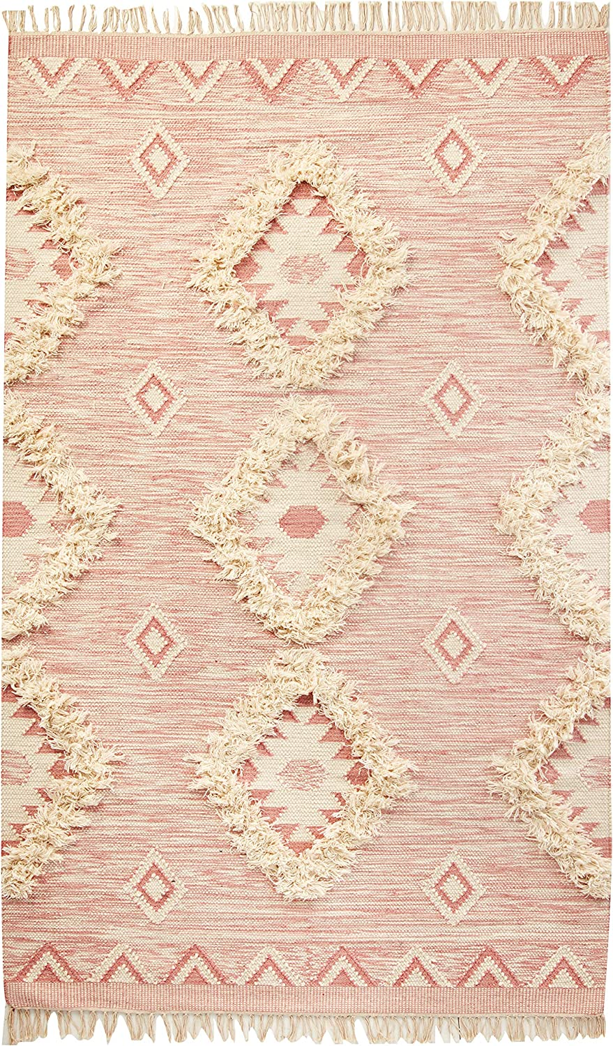 Amazon Com Nuloom Savannah Moroccan Fringe Area Rug 5 X 8 Pink Furniture Decor
