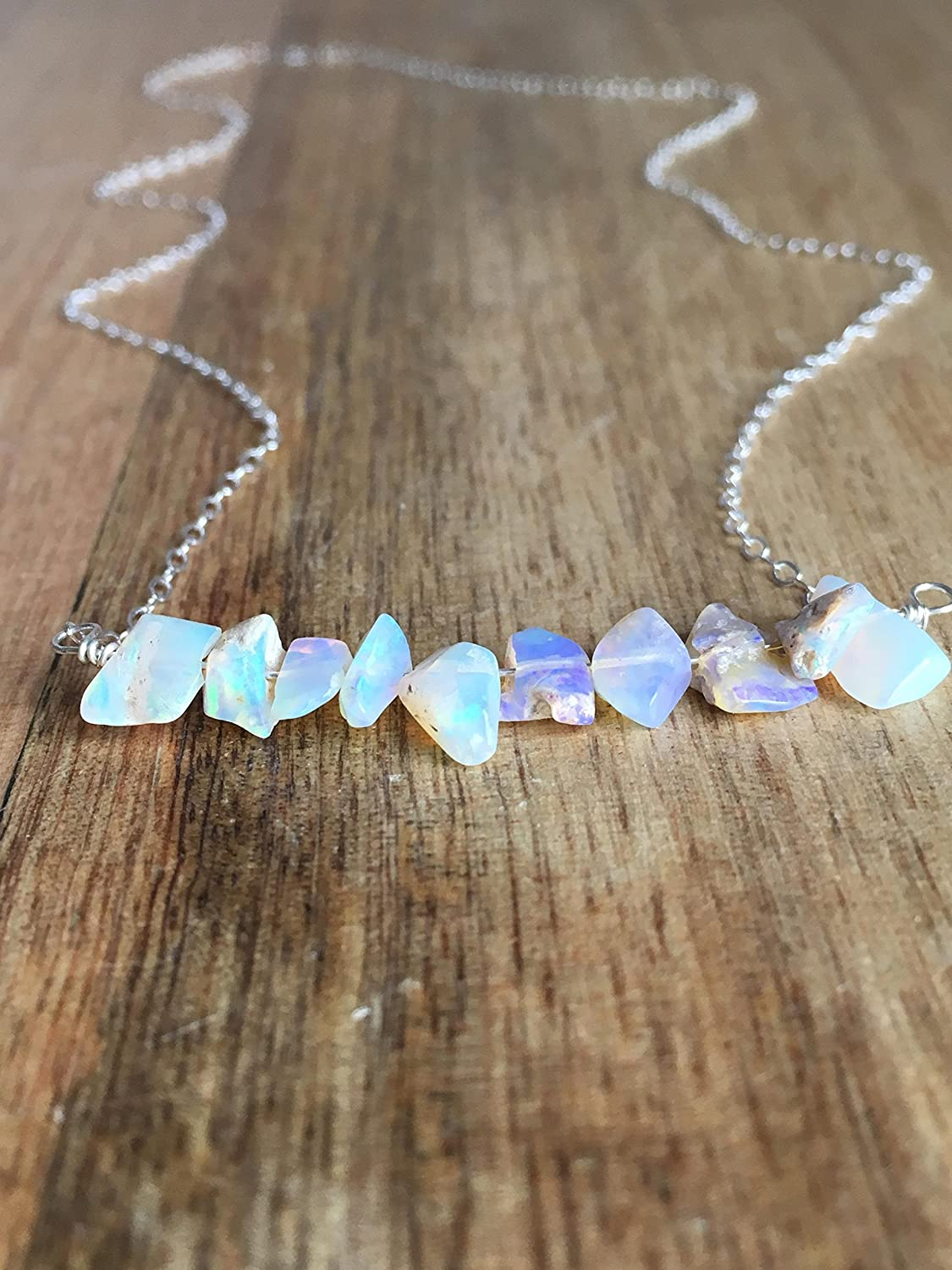 Raw Opal Necklace on 16 Sterling Silver Chain