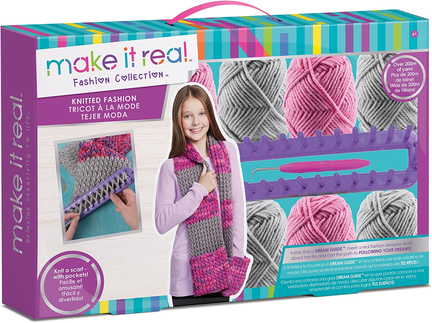 Make It Real Cozy Hands Scarf Knitting Craft Kit for Kids
