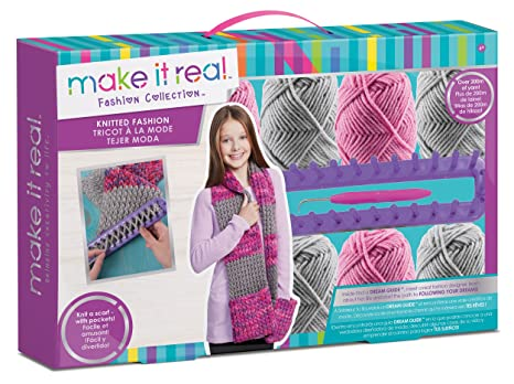 Amazon Com Make It Real Cozy Hands Scarf Knitting Craft Kit For