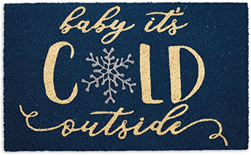 DII Indoor Outdoor Natural Coir Holiday Season Doormat, 18×30, Baby Its Cold