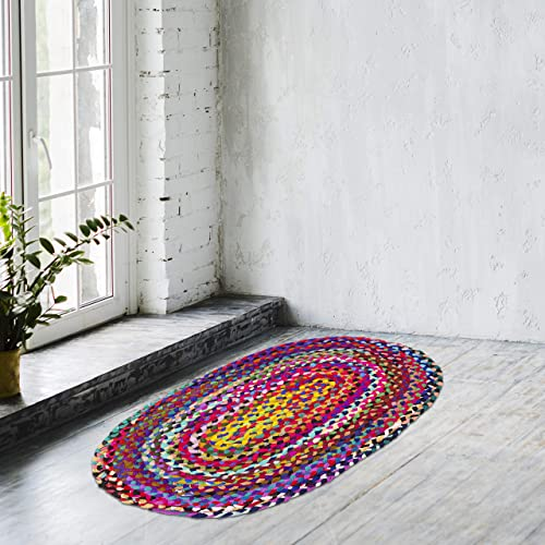 Zahra Handmade Cotton Area Rug- 2×3 Feet Oval Hand Woven Multicolor Recycled Cotton Reversible Braided Rag Rug