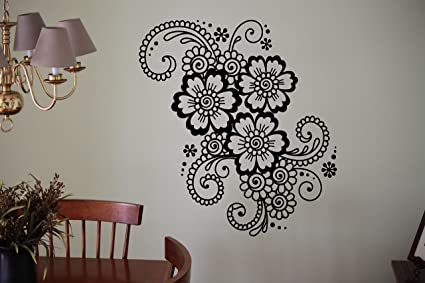 Mehndi Henna Wall Decal Abstract Flowers Vinyl Sticker Flower Home Interior Indian Mandala Art