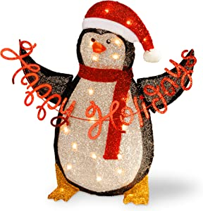 National Tree 29 Inch Silver Tinsel 2D Penguin Holding a