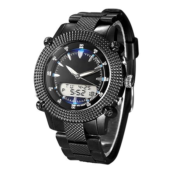 Reloj digital hombre deportivo de caballero de cuarzo con correa de resina negra (alarma, cronómetro, luz)-resistente al agua: Amazon.es: Relojes