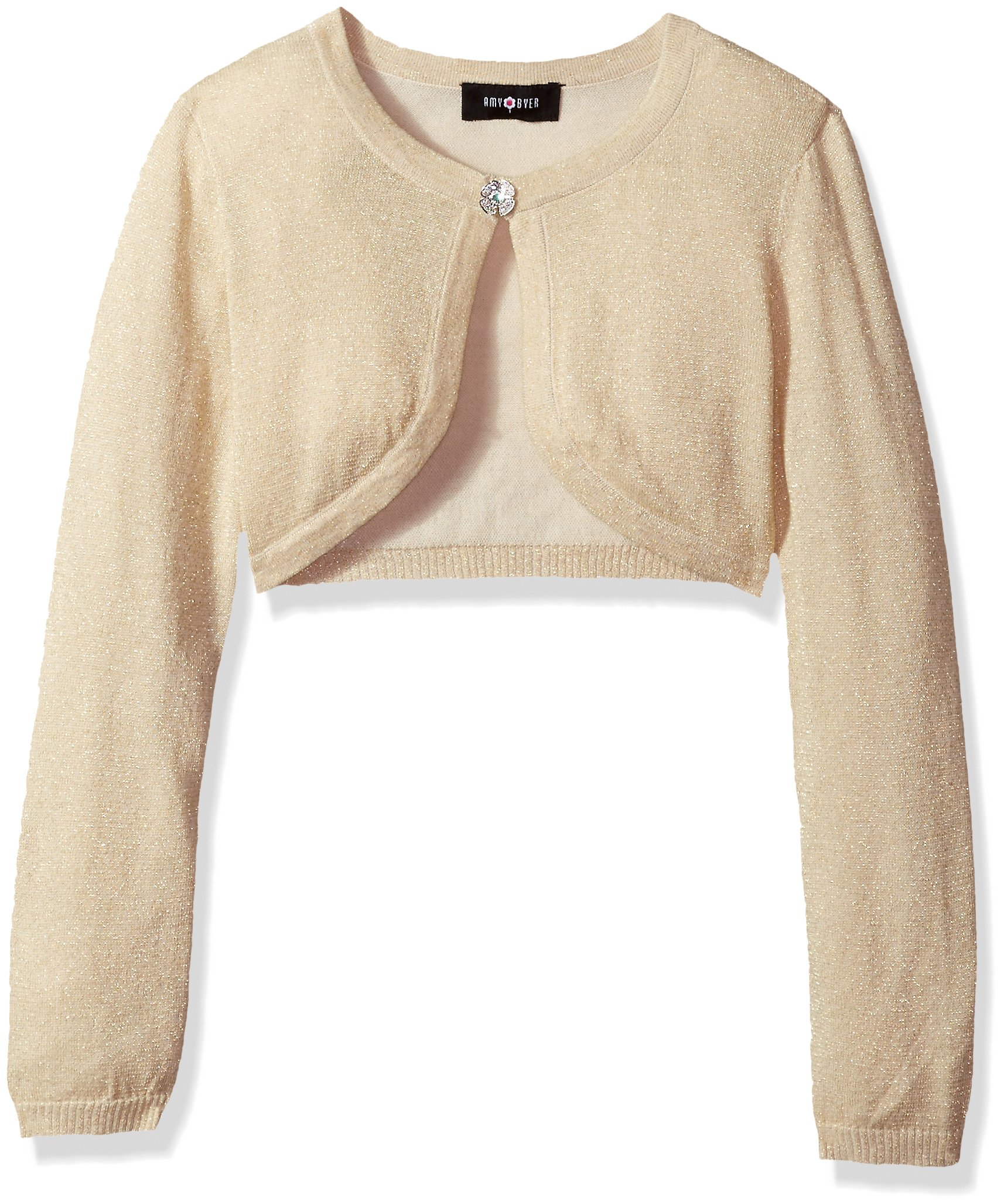 Amy Byer Big Girls' Long Sleeve Metallic Cardigan, Gold, S