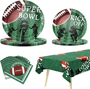 Vadeture Football Party Supplies Super Bowl Decorations Super Bowl Party Supplies Includes Paper Plates Napkin and Tablecloth Serves 24