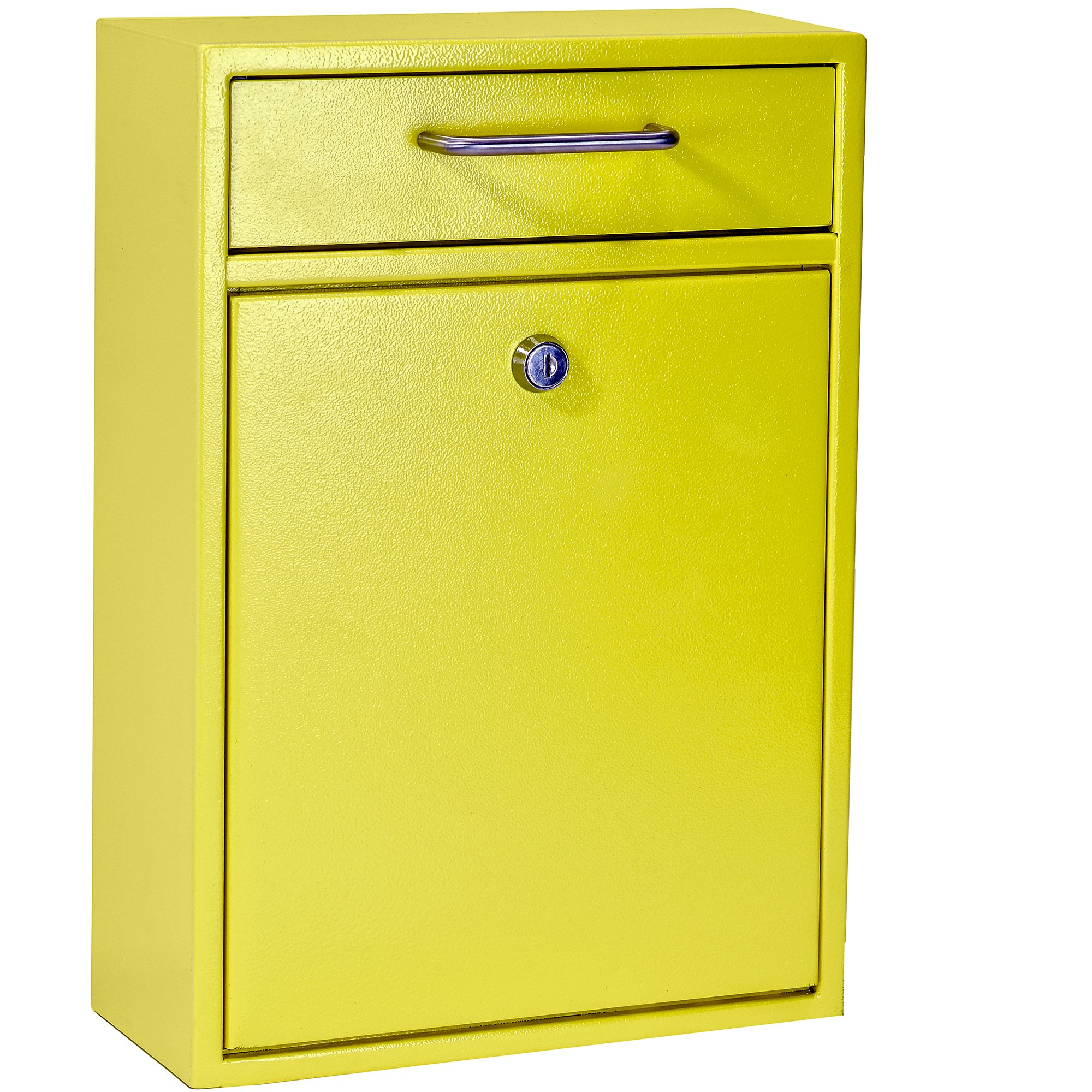 Mail Boss 7423 High Security Steel Locking Wall Mounted Mailbox - Office Drop Box - Comment Box - Letter Box - Deposit Box, Yellow