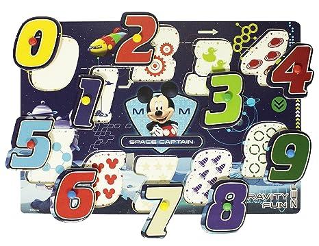 Vamos 060685 – Puzzle de Madera con Botones – Mickey Mouse – 10 Números