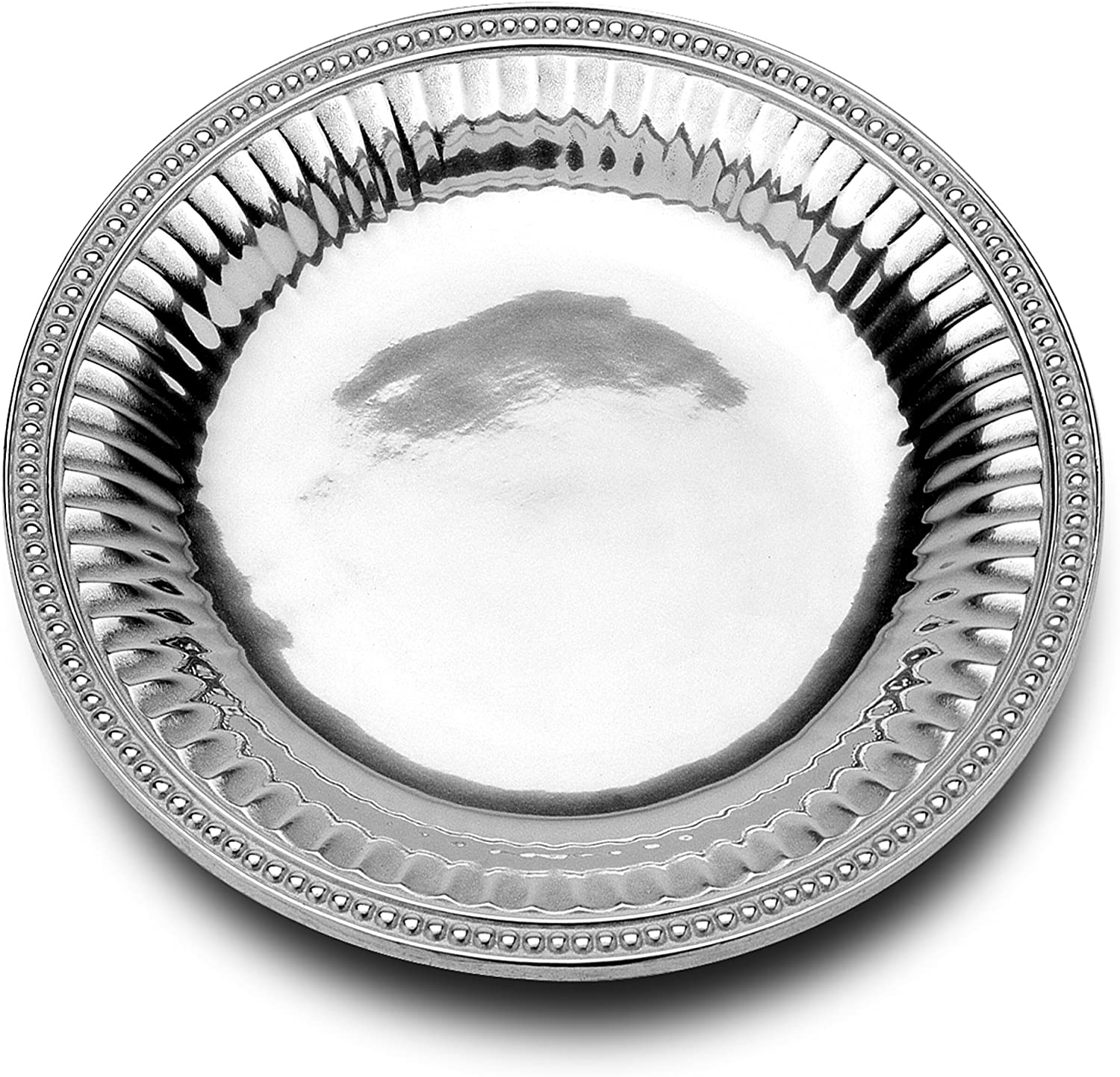 Amazon Com Wilton Armetale Flutes And Pearls Medium Round Serving Tray 13 5 Inch Kitchen Dining