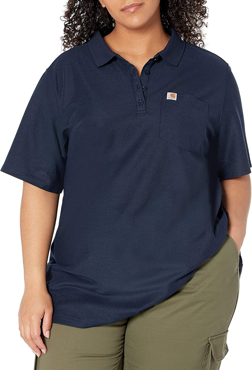 Navy Carhartt Womens Plus Size Relaxed Fit Short-Sleeve Polo 2X
