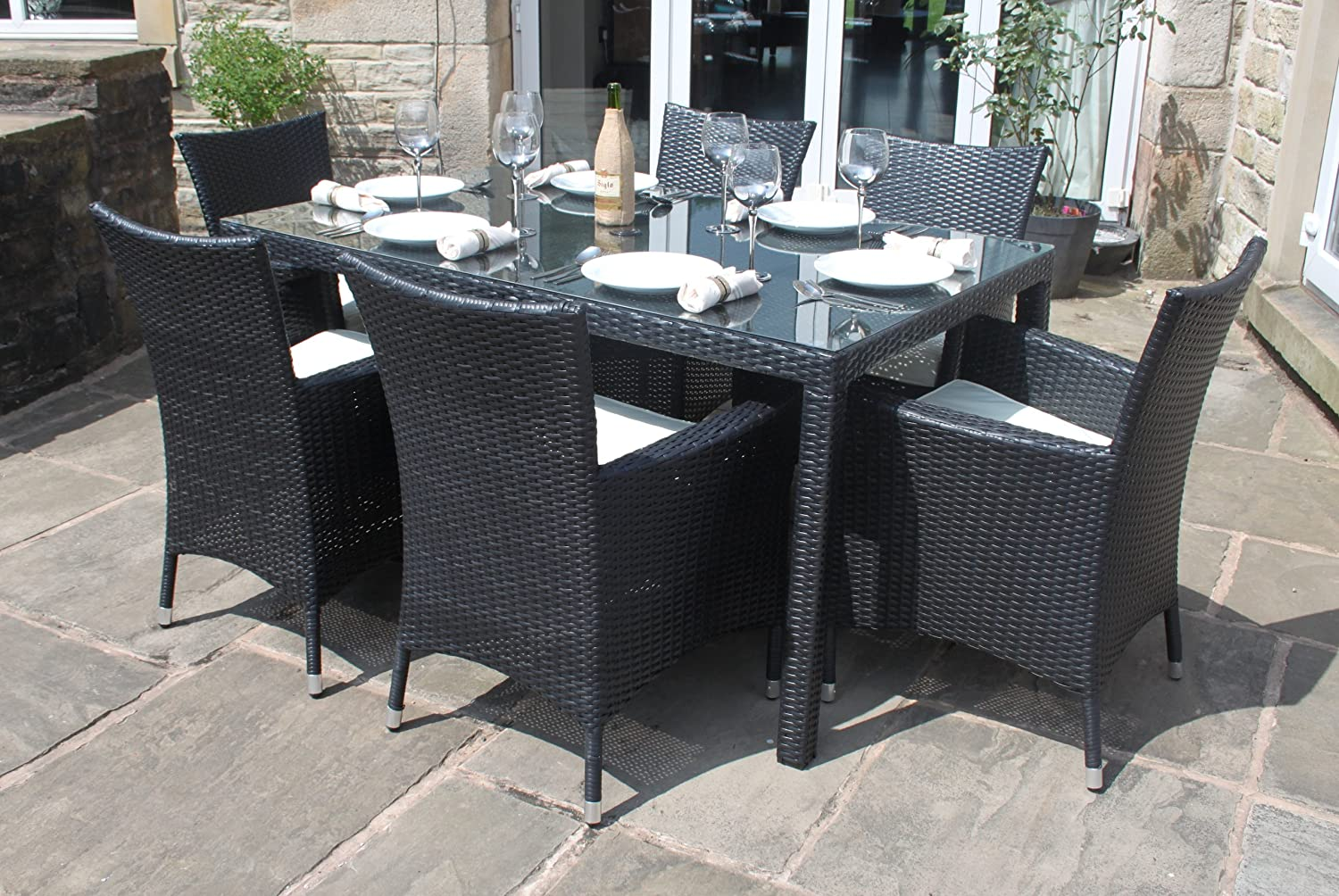 weatherproof rattan 6 seater garden furniture dining set in black amazoncouk garden outdoors - Rattan Garden Furniture 6 Seater