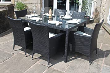 Weatherproof Rattan 6 Seater Garden Furniture Dining Set In Black