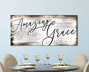 Sense Of Art | Amazing Grace Quote | Religious Gifts | Farm House Sign | Rustic Kitchen Decor | Ready to Hang Sign | Christian Wall Art (Brown, 42x19)