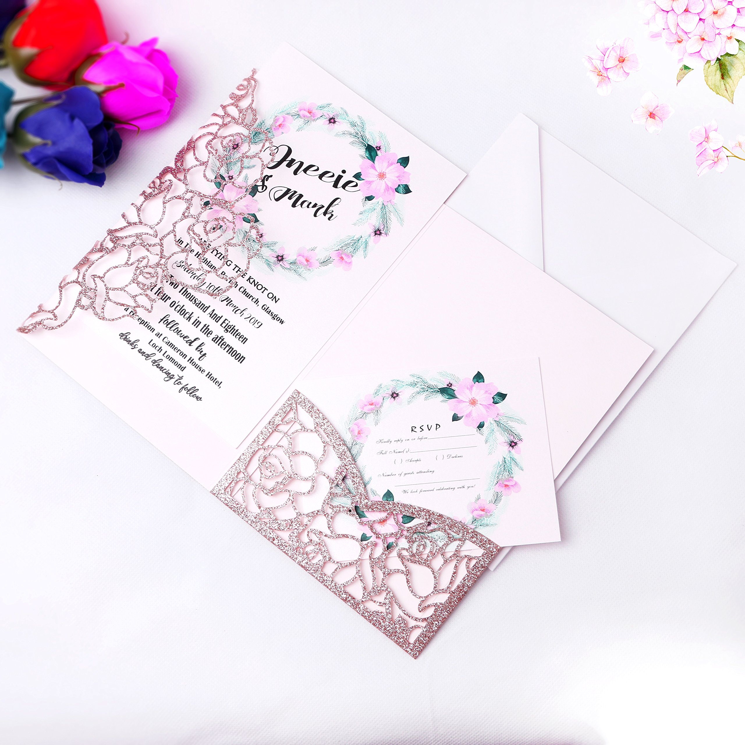 FEIYI 20 PCS 3 Folds Laser Cut Rose Shape Wedding Invitations Cards For Wedding Bridal Shower Engagement Birthday Graduation Invitation Cards (Rose Gold Glitter)