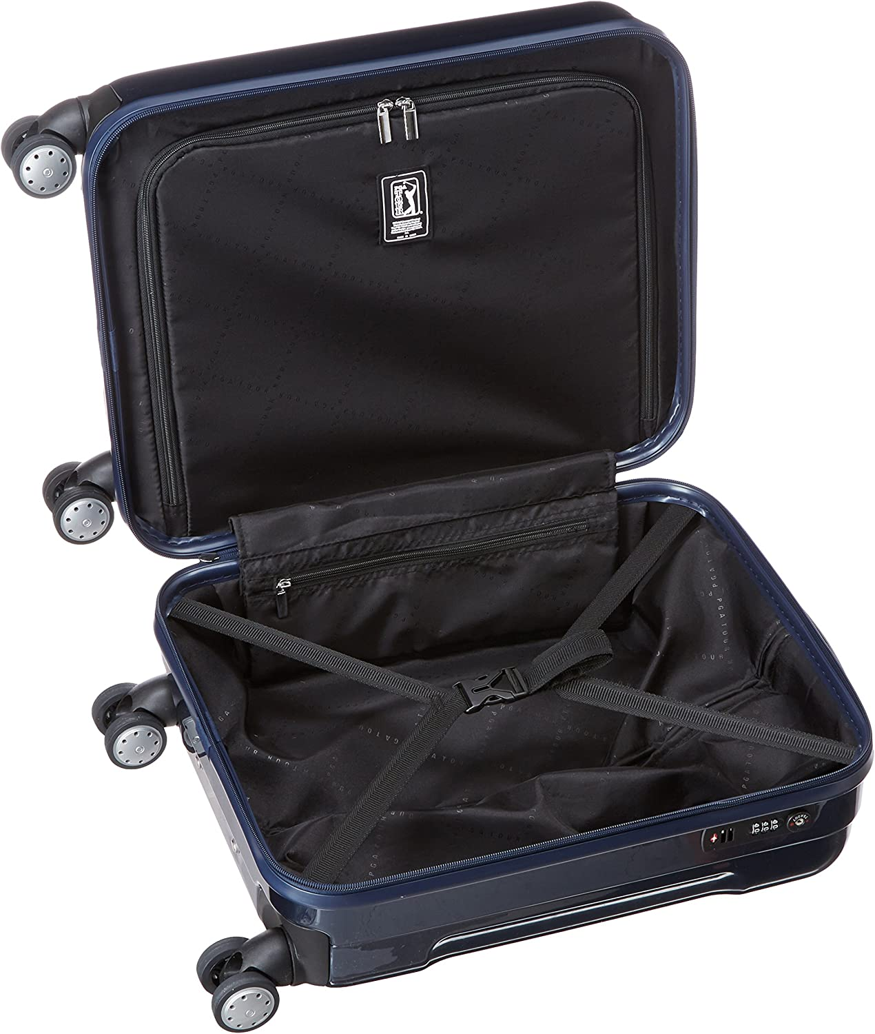 One Size PGA Tour Hard Case Spinner Luggage 20 Inch Carry-On Navy