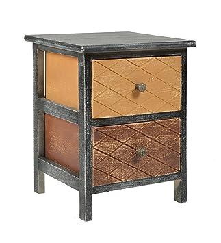 Ts Ideen Kommode Schrank Shabby Schwarz Nachttisch 2 Schubladen Braun Beige Schlafzimmer Wohnzimmer Kinderzimmer Badezimmer Oder Buro