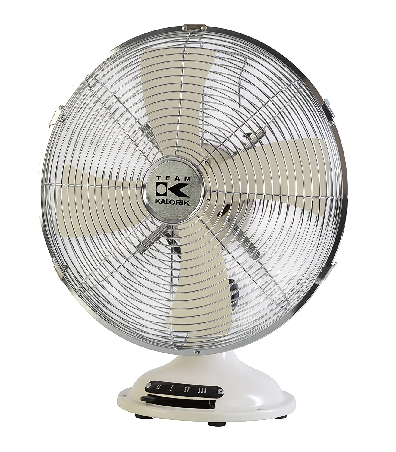 Team Kalorik Retro Metal Desk Fan, Oscillation Function, 3 different speed settings, Ø 30 cm, 35 W, Cream-White, TKG VT 1021 Ø 30 cm Efbe Elektrogeräte GmbH