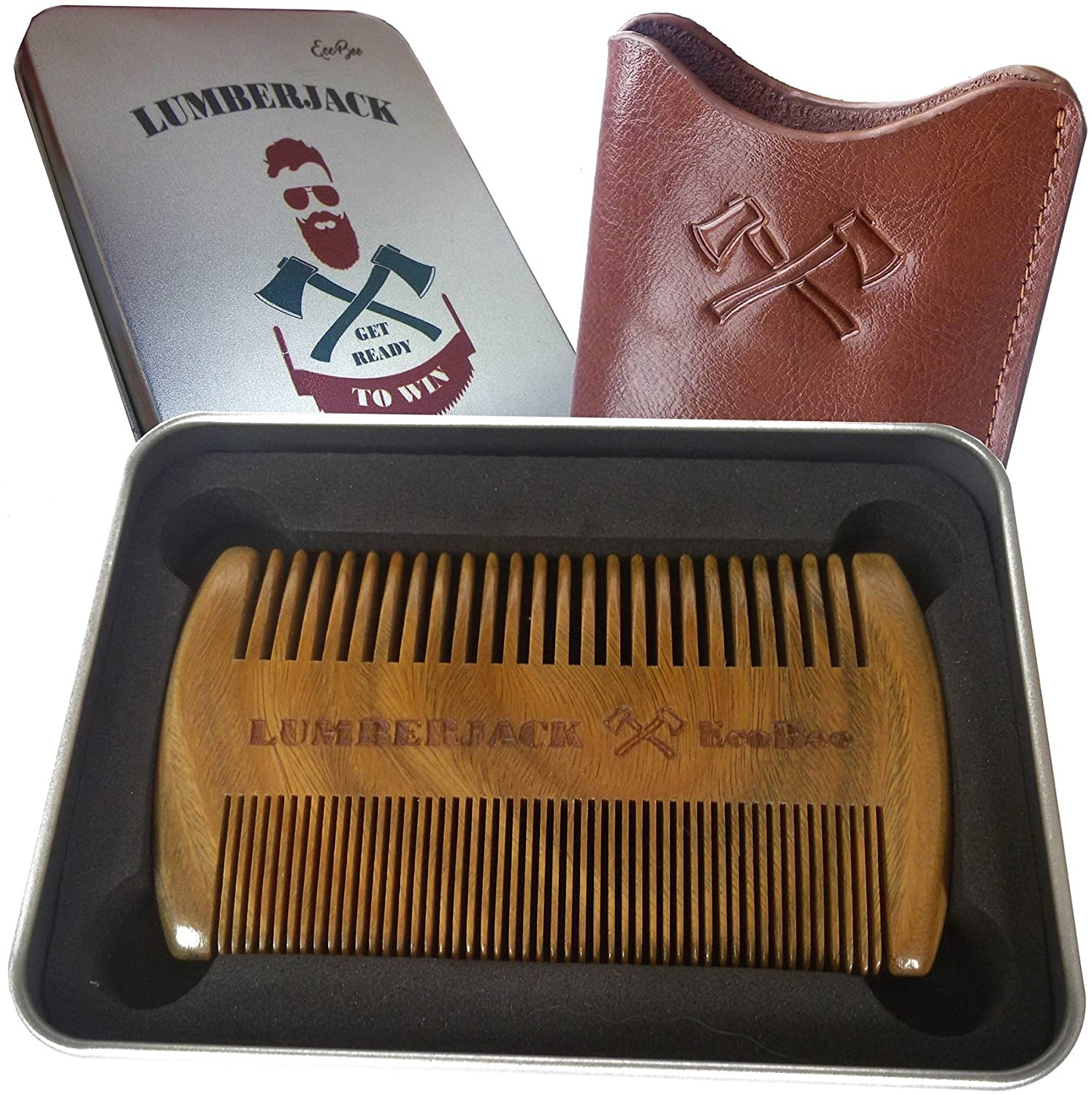 Beard Comb Dual Action + eBook, Men gift - Wooden Comb for beard & Real leather pouch, Pocket size, Sandalwood, Fine - Coarse Teeth, Antistatic wood comb, Perfect for Beard Oils & Balms EcoBee LUMBERJACK