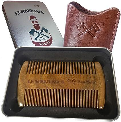 Bartkamm Doppelseitiger, regalo para los hombres - Un Holzkamm la barba y Lederbezug, de bolsillo, ...