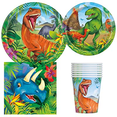 Unique Industries BashBox Dinosaur Birthday Party Supplies Pack for 8 Guests Including Lunch Plates, Dessert Plates, Lunch Napkins, Cups: Toys & Games