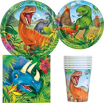 Amazon.com: Dinosaurio fiesta de cumpleaños suministros Pack ...