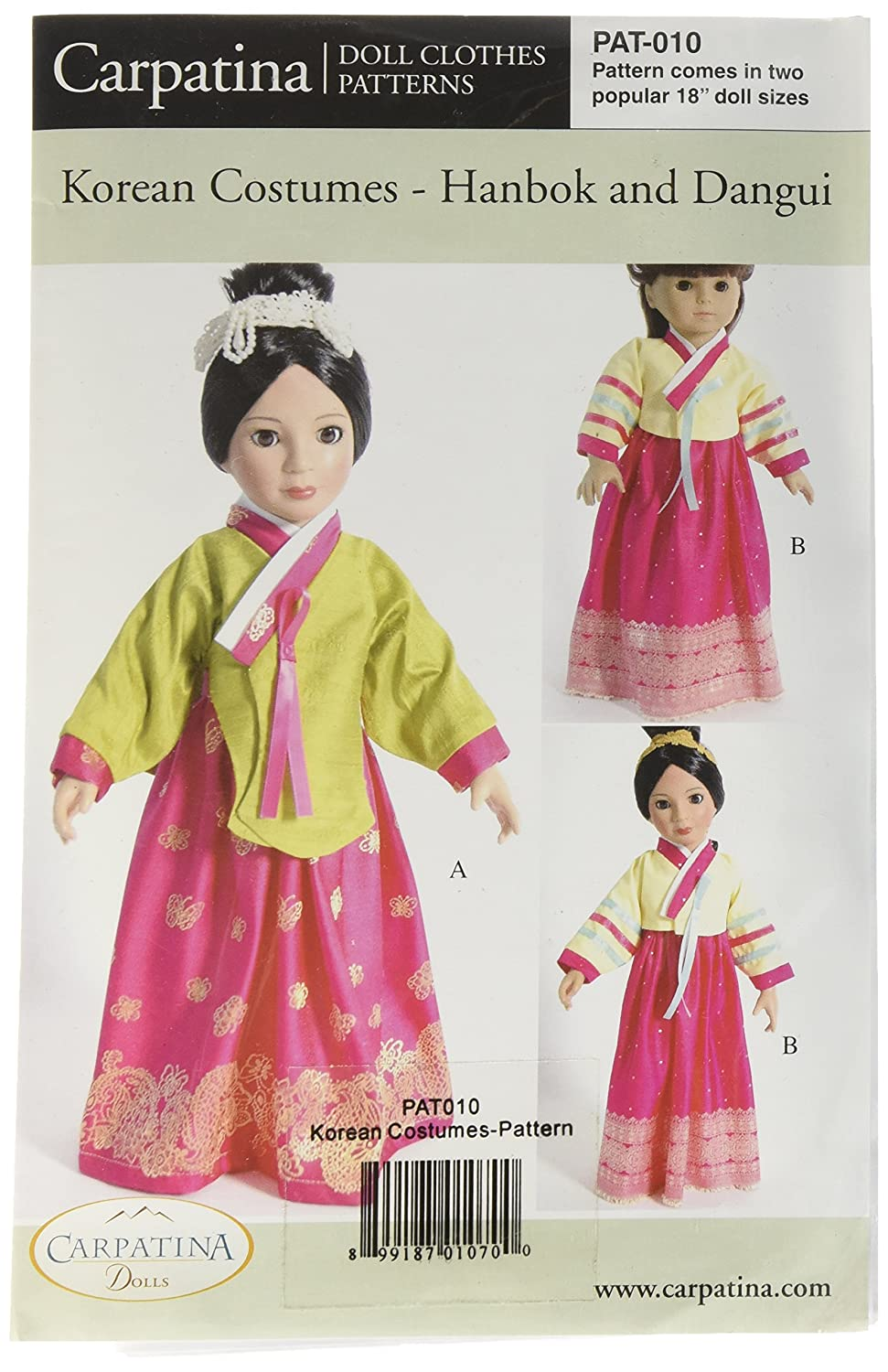 Pattern For Korean Costumes Hanbok Dangui Fits 18 Outfit Girl 10 Korea American Dolls Toys Games