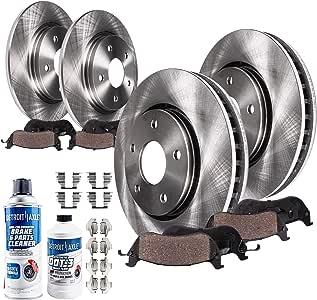 Detroit Axle - Brakes Kit Replacement for 2001-2007 Chrysler Town & Contry, Dodge Caravan, Grand Caravan - Front Rear Disc Rotors, Ceramic Brake Pads