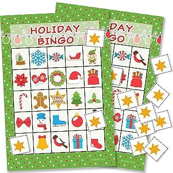 Juego De Bingo De Navidad Para Ninos 24 Jugadores Amazon Es Hogar