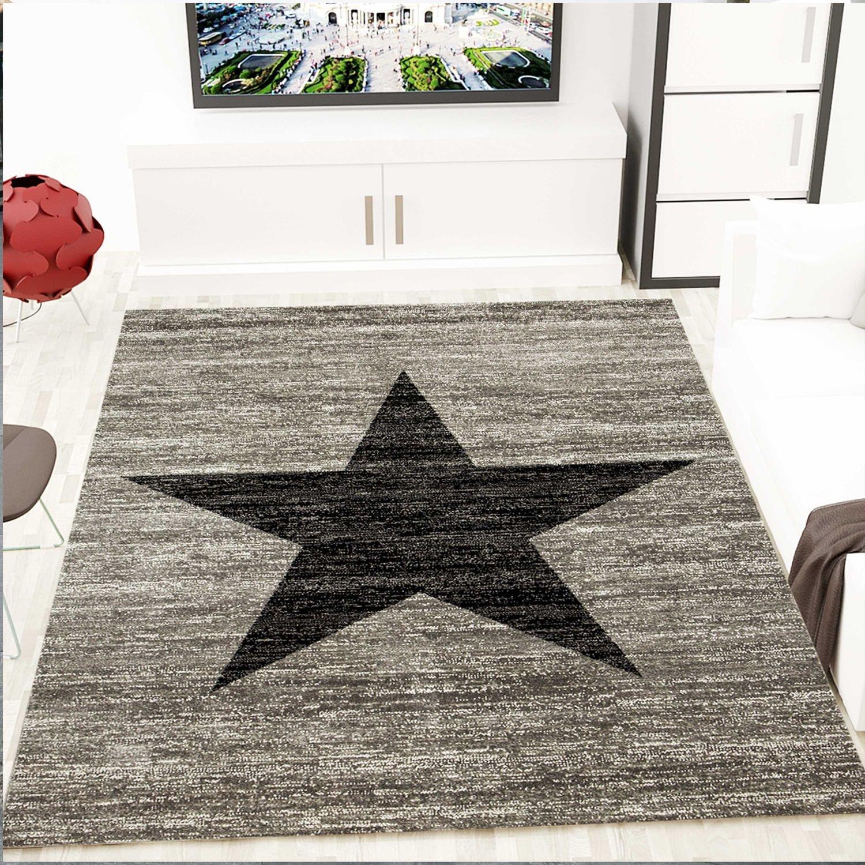 VIMODA Trendiger Kurzflor Teppich Design Stern Meliert in Schwarz Grau - ÖKO TEX Zertifiziert, Maße 240 x 340 cm