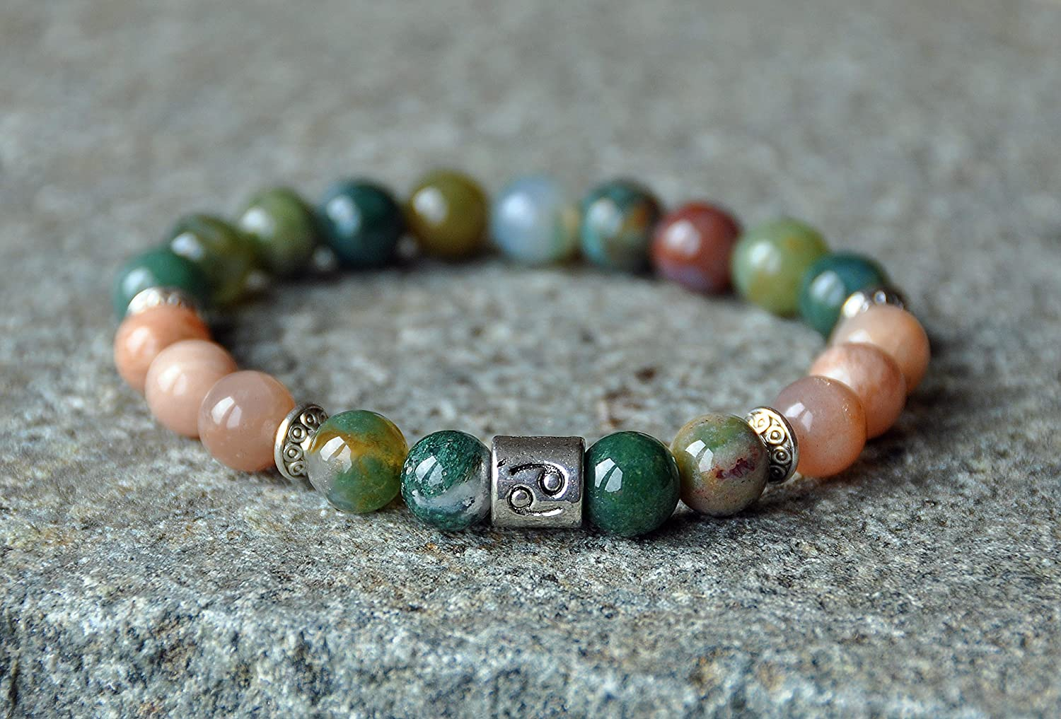 Gemini Zodiac Self Confidence June Birthstone \u221e Boho Beads Jewelry Gift for her Luck Indian Agate Bar Necklace Suede \u221e Protection