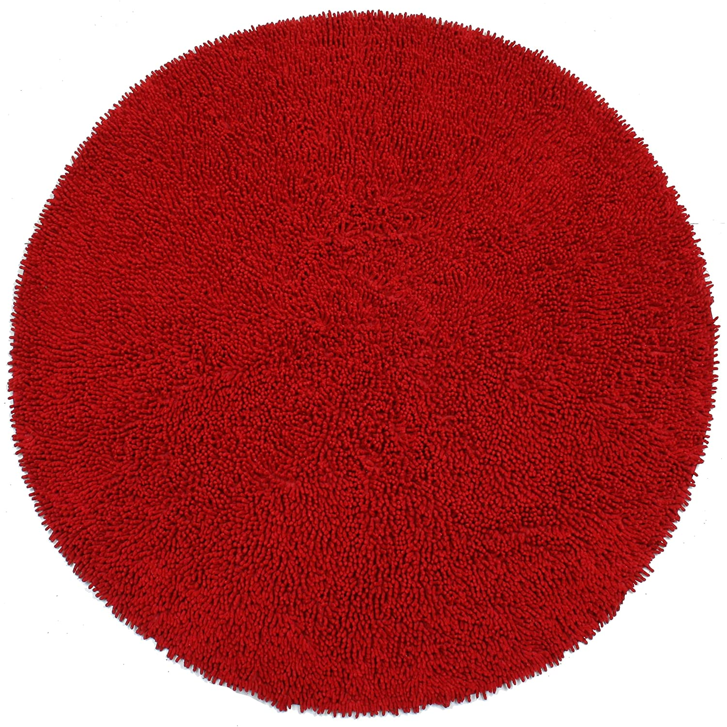 Amazon.com: Shagadelic Chenille Twist Round Rug, 3 By 3 Feet, Red: Kitchen  U0026 Dining