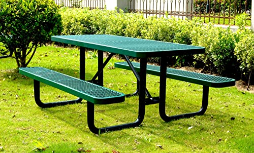 Lifeyard 72 Rectangular Picnic Table, Expanded Metal, Green