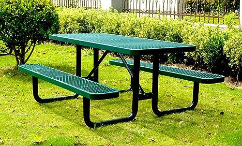 Lifeyard 72 Rectangular Picnic Table, Expanded Metal, Green
