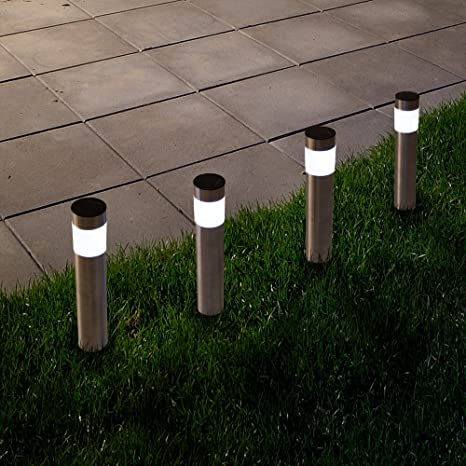 Wonderful Amazon.com : Solar Outdoor LED Light, Battery Operated Stainless Steel Path Walkway  Lights For Landscape, Patio, Driveways And Pathways By Pure Garden ...