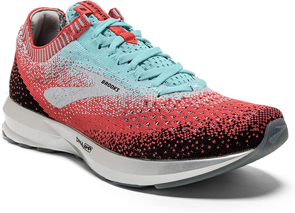 Brooks Levitate Sneakers Damen Rot/Schwarz/Hellblau