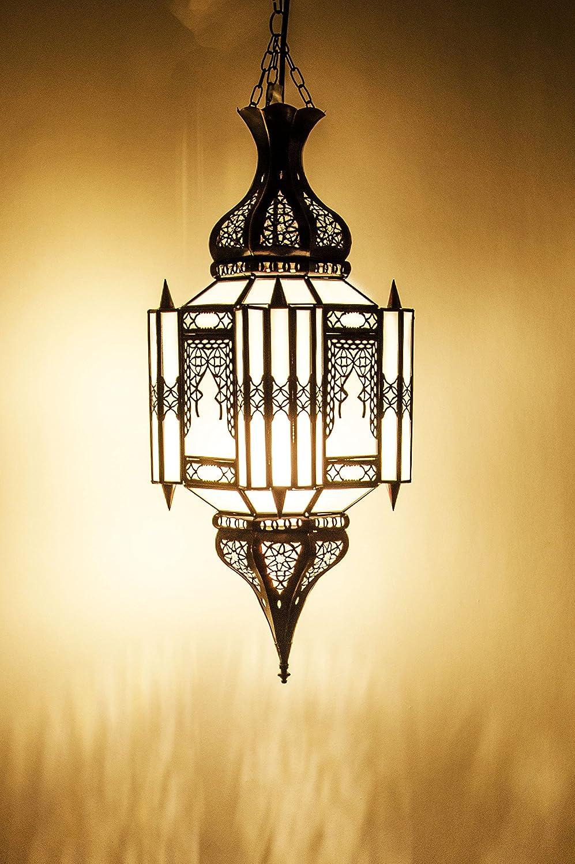 Orientalische Lampe Pendelleuchte Weiß Aariz 60cm E27 Lampenfassung   Marokkanische Design Hängeleuchte Leuchte aus Marokko   Orient Lampen für Wohnzimmer Küche oder Hängend über den Esstisch