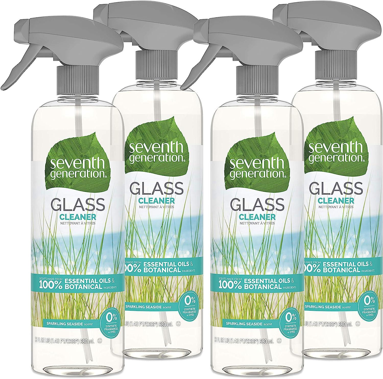 Seventh Generation Glass Cleaner, Biodegradable Formula, Sparkling Seaside Scent, 23 oz (Pack of 4)