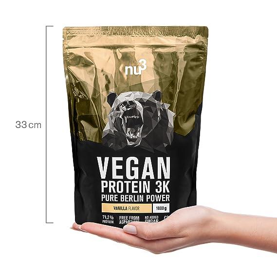nu3 - Proteína vegana 3K - 2kg de fórmula - 71,2% de proteína a base de 3 componentes vegetales - Proteínas para el crecimiento de la masa muscular con ...