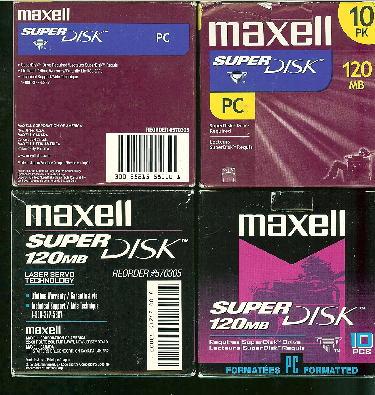570305 Maxell LS-120 SuperDisk-120MB 3.5IN RETAIL PK 10 pcs