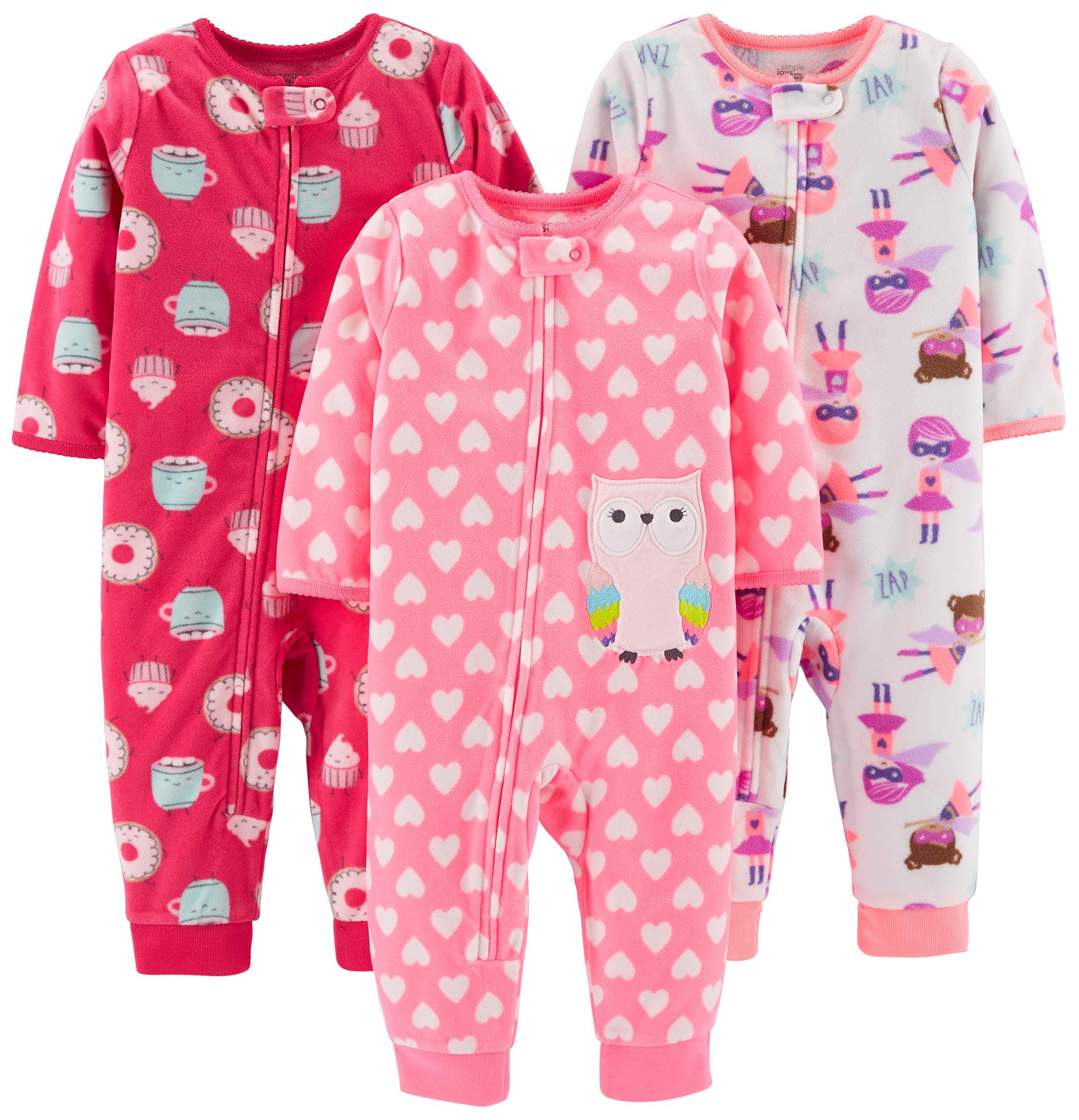 Simple Joys by Carter's Girls' 3-Pack Loose Fit Flame Resistant Fleece Footless Pajamas, Superhero/Donut/owl, 18 Months by Simple Joys by Carter's