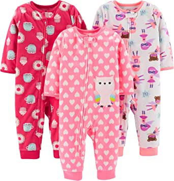 Simple Joys por Carter's Pijama de Forro Polar sin pies, Paquete de 3