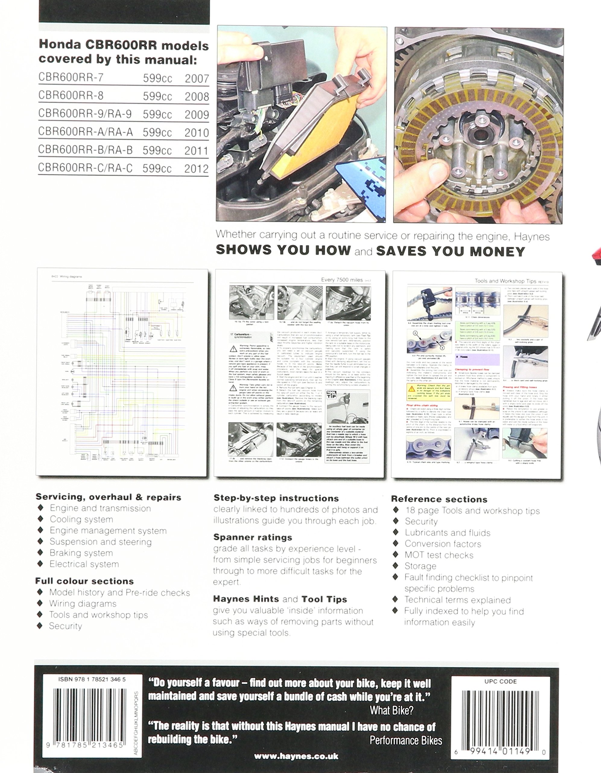 Honda CBR600RR Motorcycle Repair Manual Haynes Powersport ... on