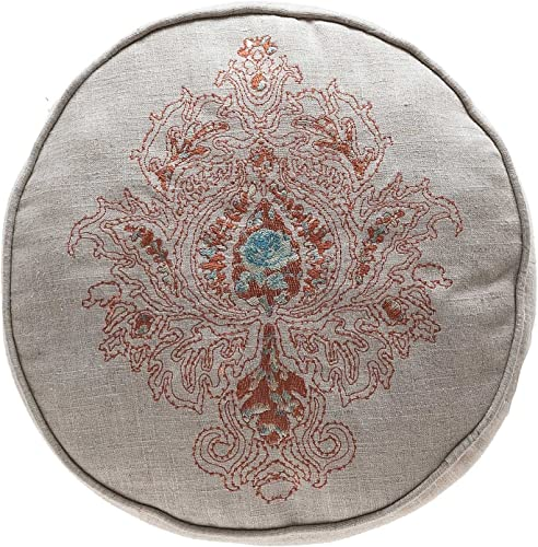 TINA S HOME Round Damask Decorative Throw Pillows Royal Embroidered Cushion Floor Pillow 14×14 inches, Orange Teal