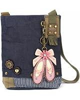 Chala Patch Cross-Body Women Handbag, Blue Denim Canvas Messenger Bag