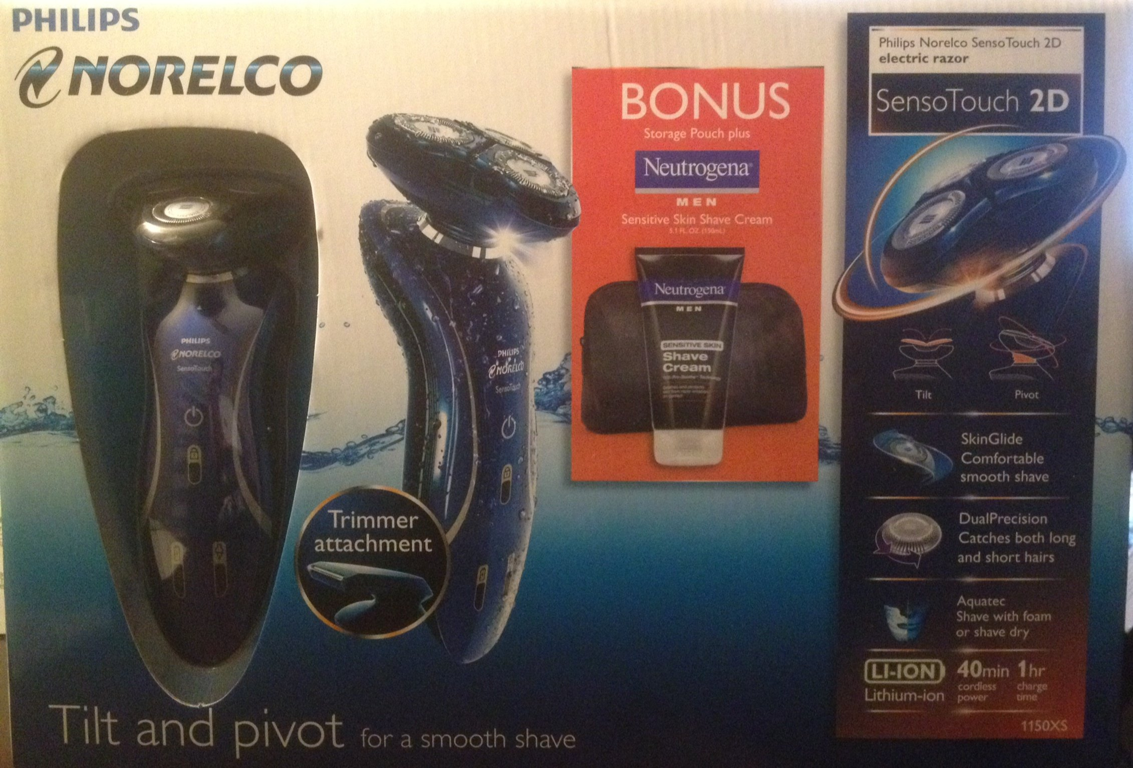Philips Norelco Sensor Touch 2D Electric Razor 1150XS with Neutrogena Men Sensitive Skin Shave Cream